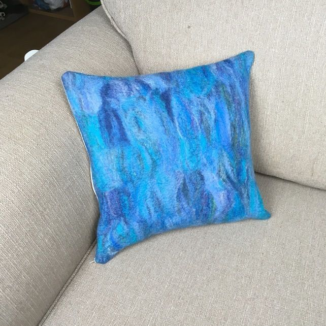 """Cushion, hand felted in blue shades (15"""") £25.00"""