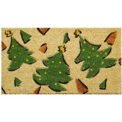 """Whimsy Xmas Trees Hand Woven Coconut Fiber Doormat 18"""" x 30"""" by Imports Unlimited. $19.95. 18 in. x 30 in. x 3/4 in. thick.; This beautifully designed hand-woven doormat will enhance your entry way or patio.; This mat is hand stenciled with permanent fade resistant dyes.; Hand made from all-natural coconut fiber which is an excellent dirt-trapper; 3/4 in. thickness.. This whimsical christmas tree designed doormat will enhance your entry way or patio during the holiday seaso..."""