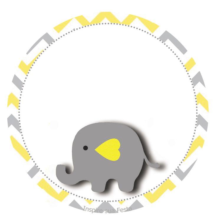 Elefantinho Chevron cinza e amarelo: Kit festa grátis para imprimir – Inspire sua Festa ®
