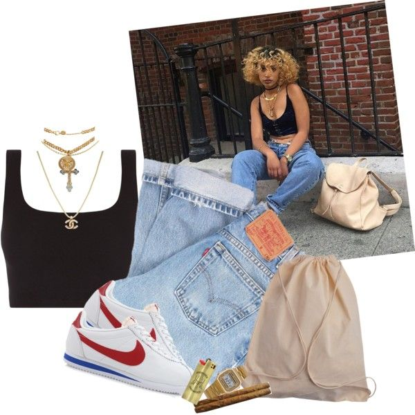 A fashion look from July 2017 featuring Levi's jeans, NIKE shoes and Cross necklaces. Browse and shop related looks.
