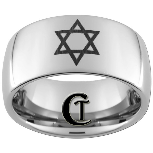 Mens Wedding Ring Tungsten 10mm Jewish Design Sizes 5 17 4900 Via
