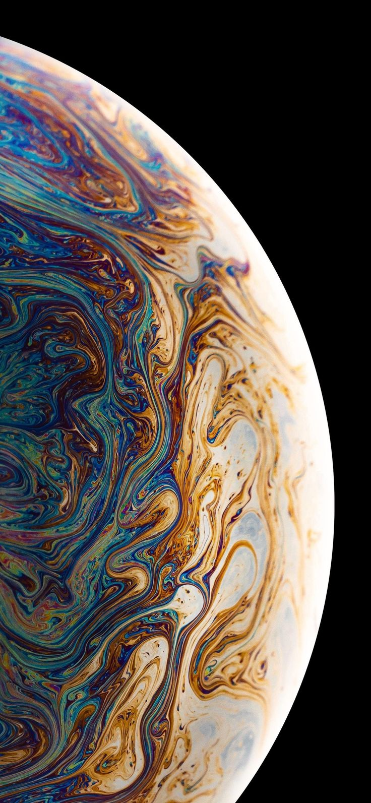 iPhone XS Gold Edition. Looks like a liquid globe, mixed from paint. Wallpaper f…
