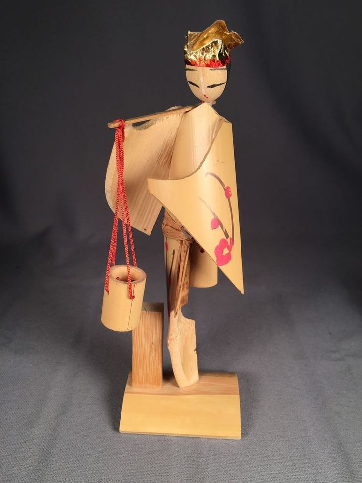 Japanese Bamboo Doll / Figure. Woman Carrying Buckets