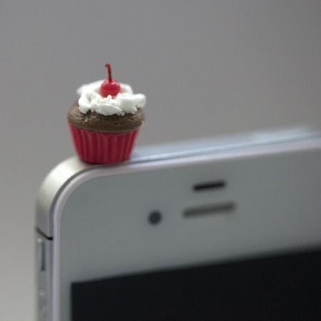 Kawaii MINI CHERRY CUPCAKE Iphone Earphone Plug/Dust Plug - Cellphone Headphone Handmade Decorations
