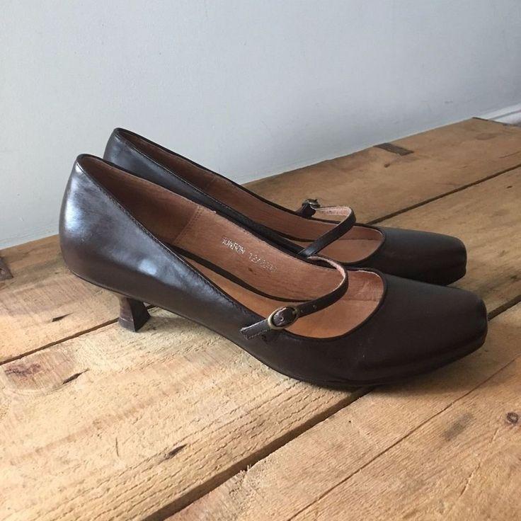 UK SIZE 6 WOMENS JONES BOOTMAKER BROWN LEATHER MARY JANE KITTEN HEEL SHOES  | eBay