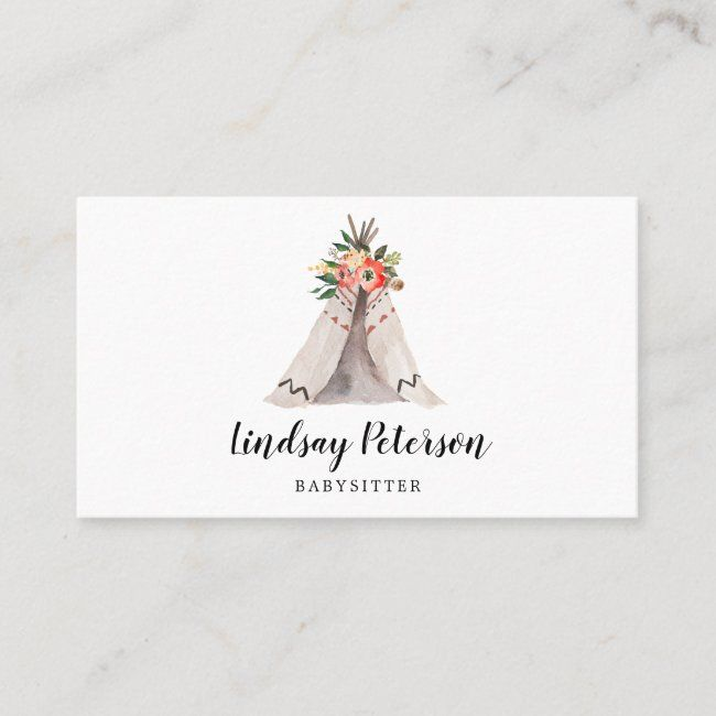 Boho Teepee Babysitter Business Cards Zazzle Com In 2020 Rustic Business Cards Custom Business Cards Professional Business Cards Templates