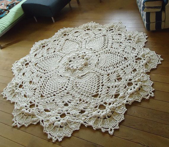 Ready to Ship ! Beige Giant 3D Crochet Doily Rug, floor rug, large area round rug, Rustic chic home decor 79 inc