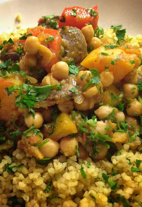 The Gourmet Vegan • MOROCCAN CHICKPEA AND VEGETABLE TAGINE  -a nice change from a traditional stir fry or stew, and delicious! i just love the spice blends used in Moroccan cuisine :)
