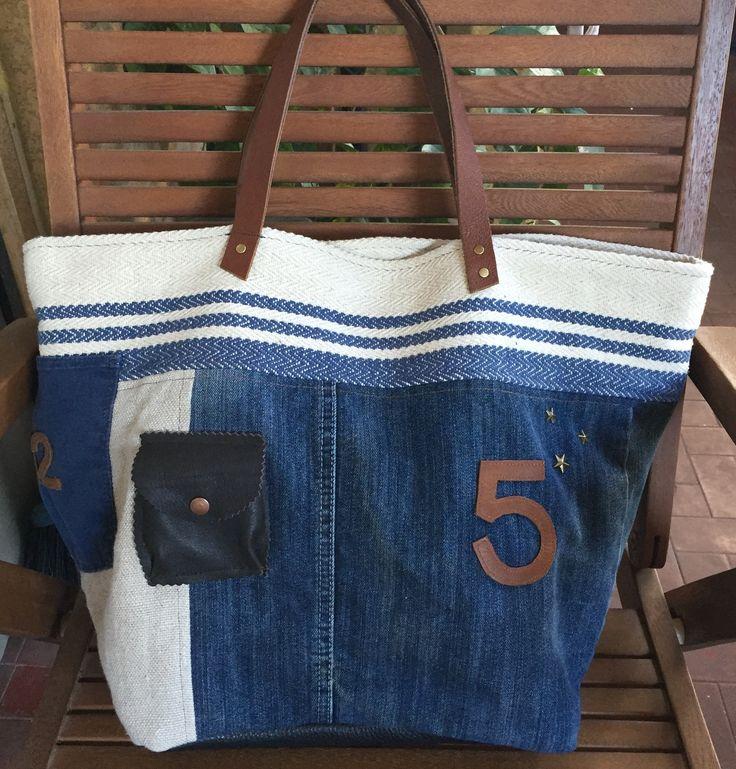 Grand sac cabas bleu porté épaule : Sacs à main par realisa