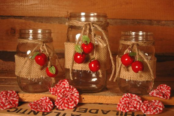 Apple Harvest collection of decorated mason jars table decor, kitchen decor, home decor, Fall decor