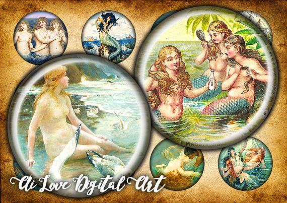 Digital download cabochon template Vintage Mermaid bottlecap  #vintagemermaid #digitalcollagesheetscircles #1inchbottlecapimages