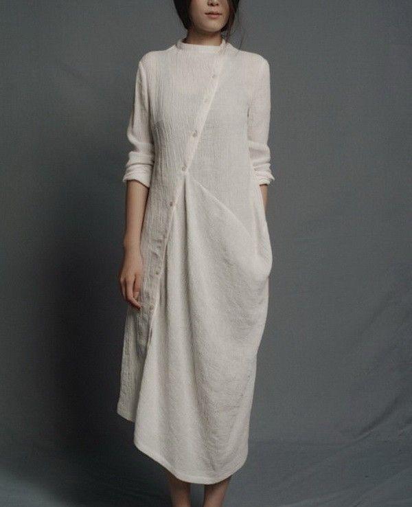 Slanting Buttons Irregular Hem Linen Dress