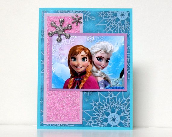 Frozen Cards Anna and Elsa Handmade Frozen Cards by k8cards, $4.25