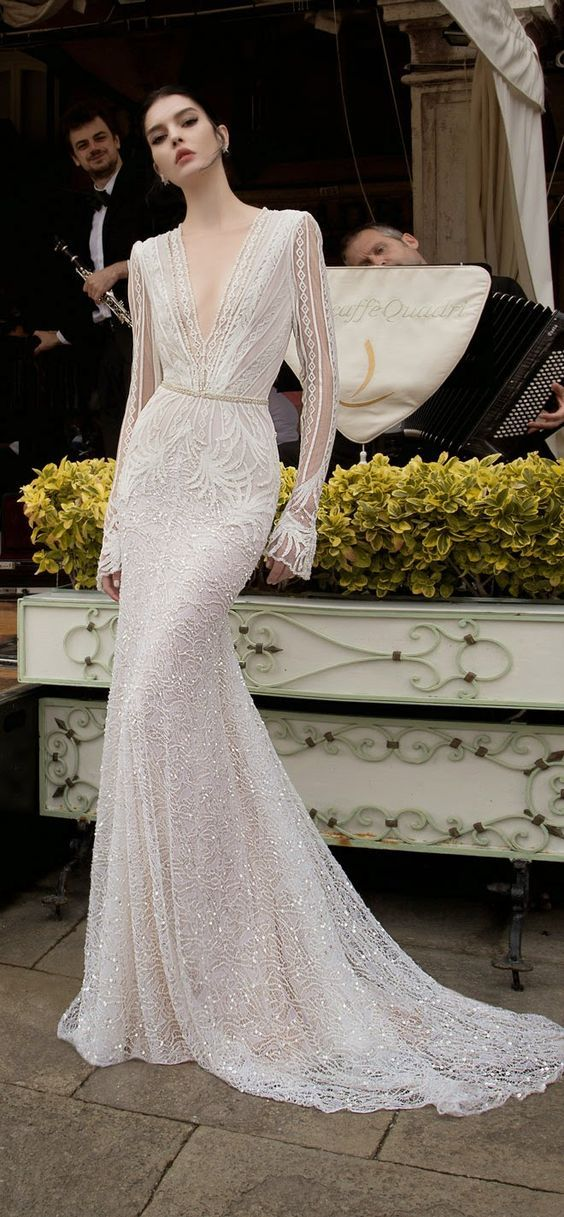 Inbal Dror v neck long sleeves wedding dress / http://www.deerpearlflowers.com/deep-plunging-v-neck-wedding-dresses/2/