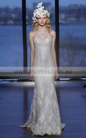 Sleeveless Backless Lace Sweetheart Sheath Wedding Dresses gjcf1001