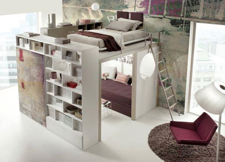 Bedroom modern bedroom idea with white bed sheet maroon comfort armchair white lantern modern style wallpaper white cupboard and bookshelf huge window and