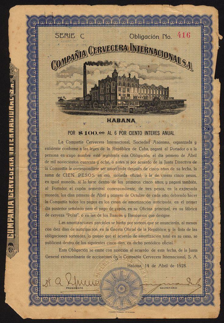 Compania Cervecera Internacional S.A 6% bond for $100, 1928