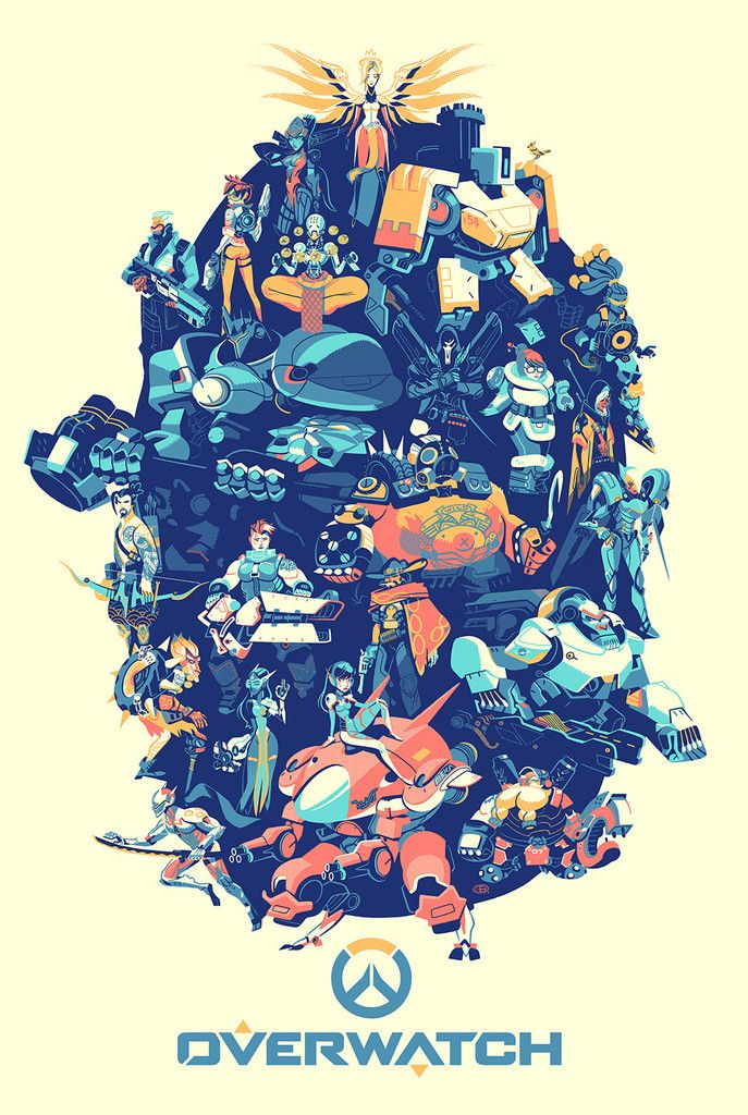 """- Inspired by Blizzard Entertainment's Overwatch - Official Premium 5 Color Screen Print - Limited Edition of 900 - Approximately 24"""" x 36"""" * Please allow up to 3-4 weeks for delivery * © 2016 Blizzar"""