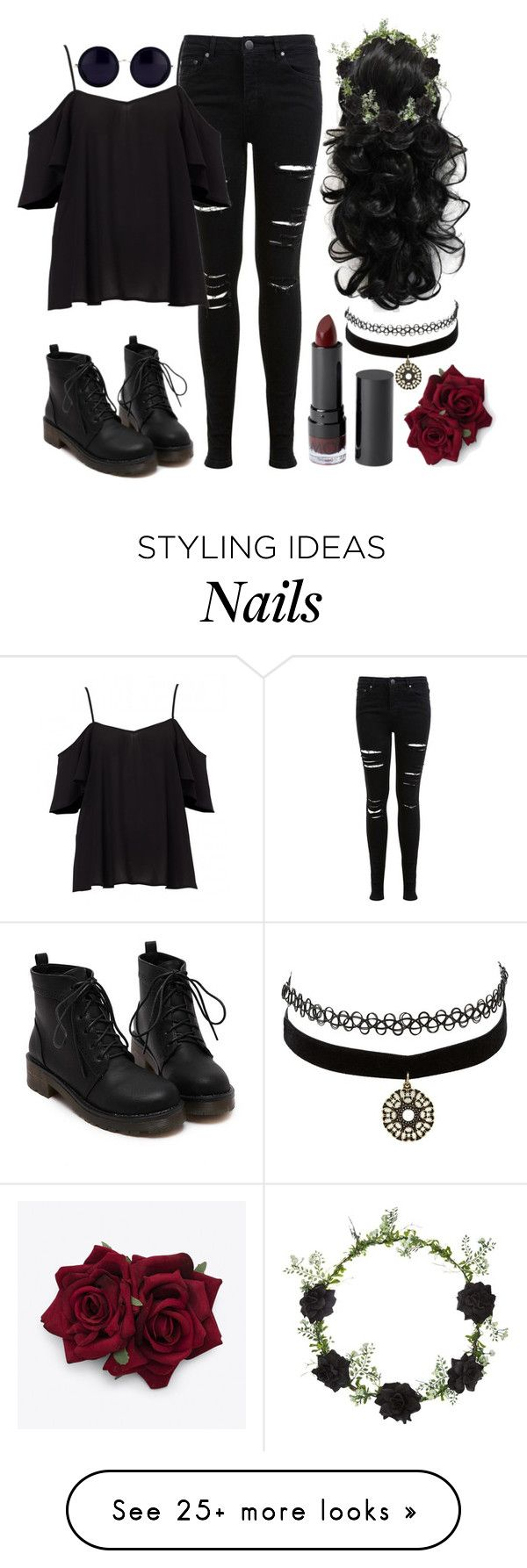 """it's called grunge not goth"" by chickadeeanya on Polyvore featuring Miss Selfridge, Monki, Charlotte Russe, Topshop and Linda Farrow"