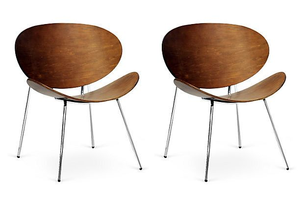 Walnut Angelina Accent Chairs, Pair on OneKingsLane.com $229