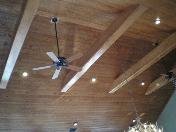 1x4 Buttboard Ceiling Treatment With Beams Cathedral