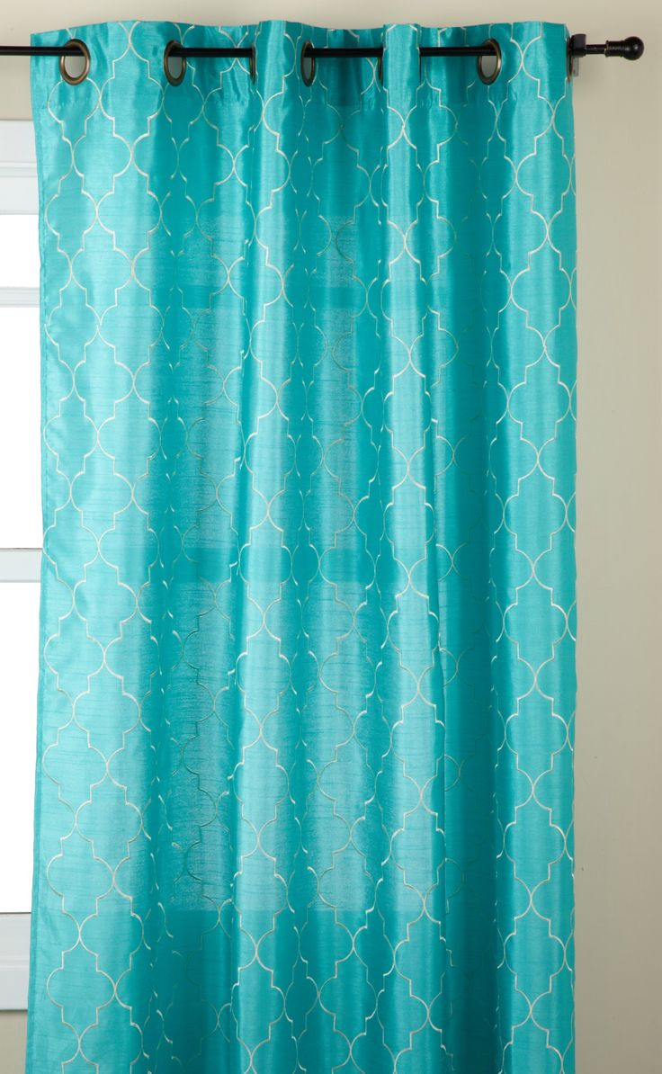 Stylemaster Hudson 55 By 84 Inch Embroidered Faux Silk Grommet Panel Turquoise