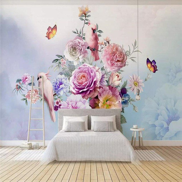 Modern Minimalist Court White Peony Decorative Painting Wall Custom High End Mural Factory Wholesale Wallpaper Mural Wall Murals Mural Wallpaper Home Wallpaper