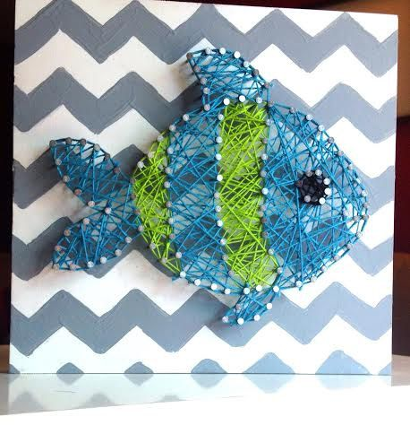 Fish String Art Nursery Decor Baby Boy Chevron by TheCoralCanopy