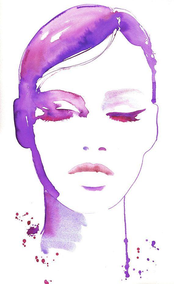 Grabado de la ilustración de moda, Ilustración de moda de la acuarela, Ilustración de moda de la pared arte, cartel de la moda, moda arte, delineador de ojos