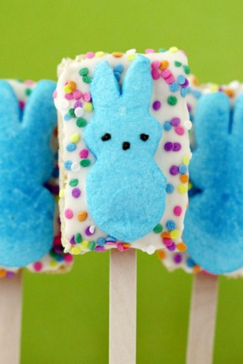 Fun Easter recipe! Peeps rice krispies treats.