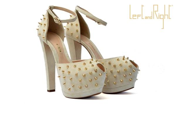 V163-Sprung up in suede leather golden brass studs heel 13 with platform colour milk