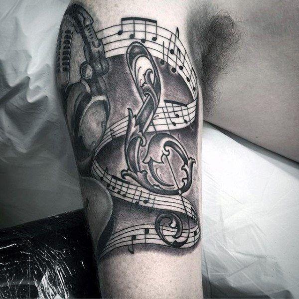 Aufwändige Music Note Kopfhörer Jungs Inner Arm Tattoos