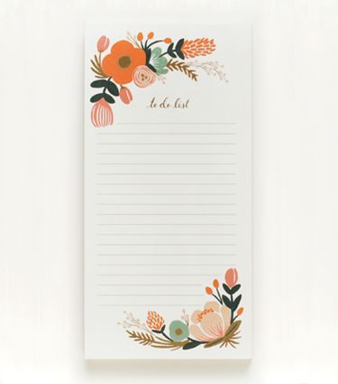 I'd do everything this pretty to do list said! Floral Shopping Pad from Rifle Paper Co.