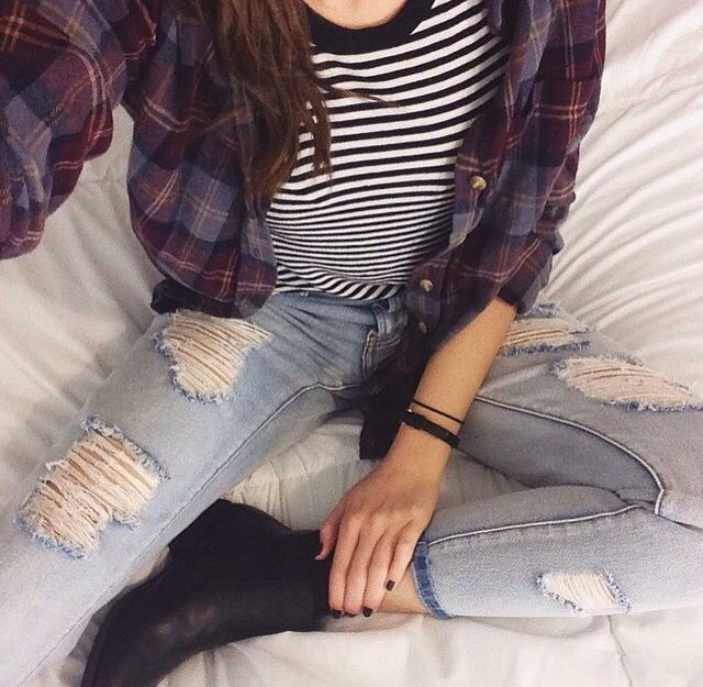 Black Ankle Boots, Distressed Light Blue Jeans, Black and White Stripped T-Shirt, Blue and Purple Flannel... Simple Edgy