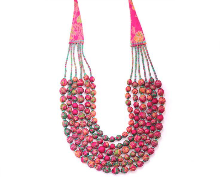 Fabric Bead Necklace Deep Pink