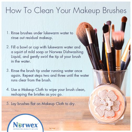Did you know that dirt, oil, and bacteria can get stuck in the bristles of #makeup brushes leading to clogged #pores and #blemishes? Washing your makeup brushes should be a regular part of your beauty routine. Mix #Norwex Dishwashing Liquid and lukewarm water in a shallow bowl. Gently swirl the tip of the brush in the water. Rinse and repeat until the water runs clear from the brush. Wipe with a Norwex Makeup Cloth and reshape the bristles. Lay on the Makeup Cloth to dry. #beautytips…