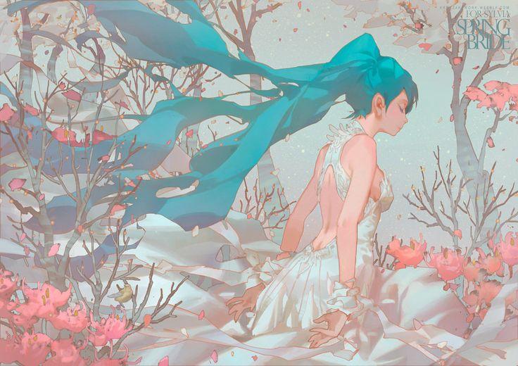 Spring Bride - really nice anime art by Krenz Cushart https://www.artstation.com/artwork/springbride?utm_content=buffer9deeb&utm_medium=social&utm_source=pinterest.com&utm_campaign=buffer #anime #manga #digiart