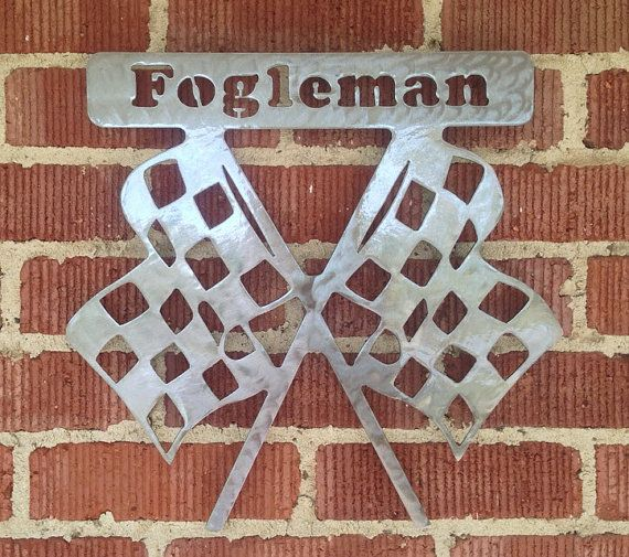 Metal Racing Checkered Flag with Name by TRossCreations on Etsy, $30.00