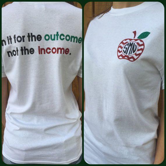 Customizable Monogram Teacher Tshirt by Cheerstothatbow on Etsy