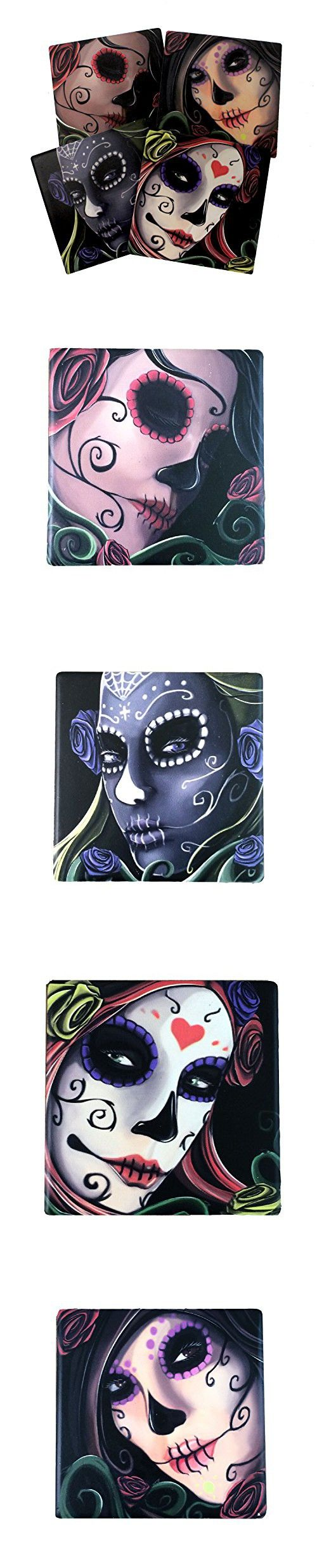 761 best decorative tiles images on pinterest room tiles subway day of the dead sugar skull sisters coaster set of 4 by dwk decorative ceramic dailygadgetfo Choice Image