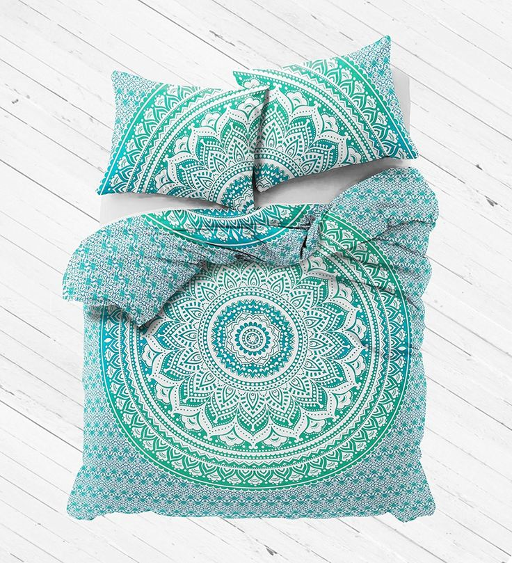 Duvet Fits a Full Size Comforter and looks great on a twin size or full size bed. - MADE IN INDIA:-Beautifully Hand Crafted By Local Artists - A wonderful example of Indian craftsmanship. - Green Ombr