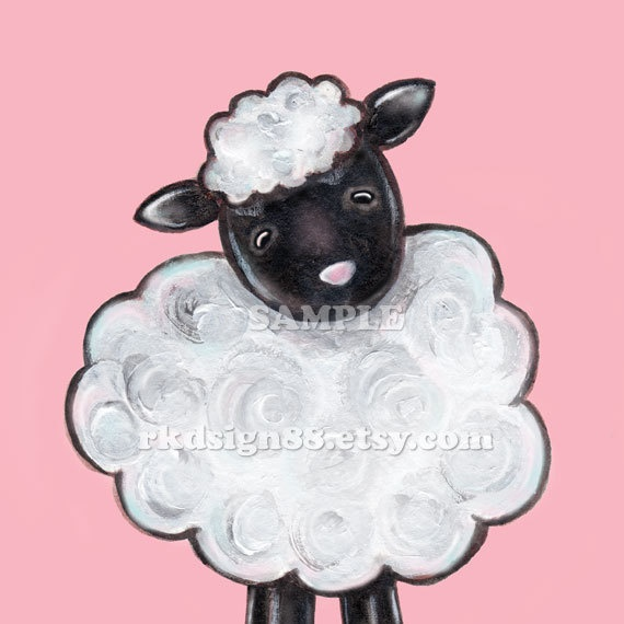Baby girl nursery art, baby nursery wall art, children decor, baby farm animal art, baby shower, pink, sheep - My Ba Ba 5 x 7 print. $9.00, via Etsy.