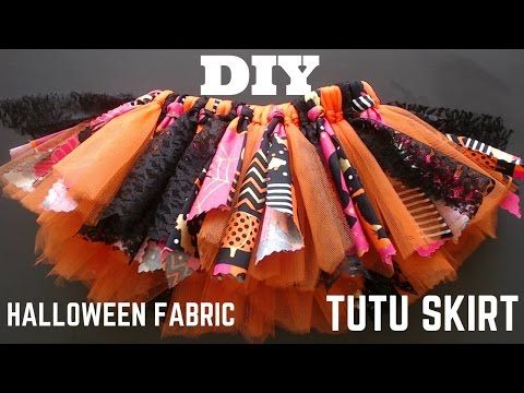Super EASY DIY: Halloween Fabric Tutu Skirt tutorial - How to make a fabric scrap tutu FAST - YouTube