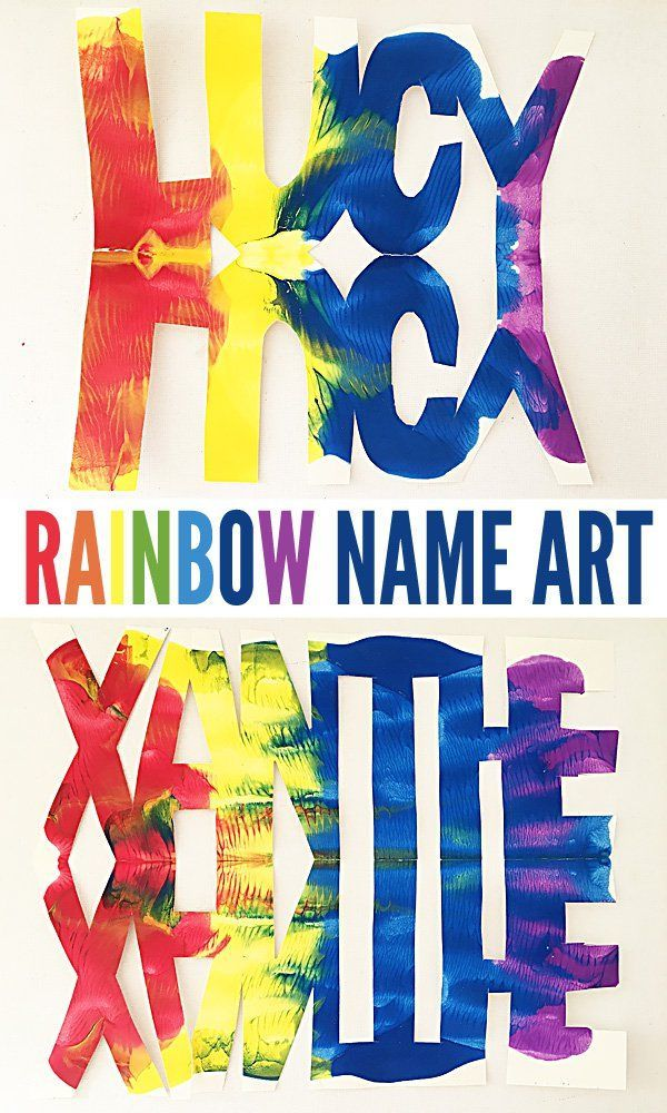 Rainbow Name Art Project for school aged kids. Create colourful, process based art with each child's name.