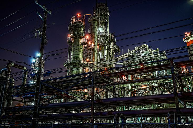 HDR Photo: Factory night view 'Pipe Road'