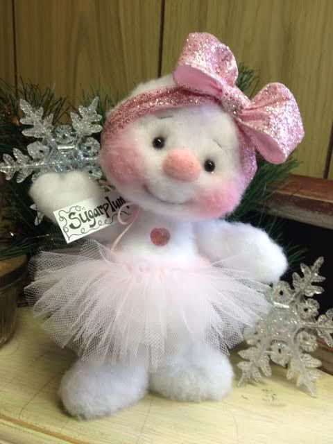 "Primitive HC Holiday Christmas Doll Snowman Snowgirl Snowflake 6.5"" Super Cute! #IsntThatCute #Christmas"