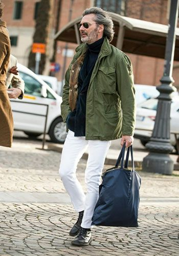 Black Turtleneck Sweater, White Jeans, Military Green Jacket. Men's Casual Outfit.