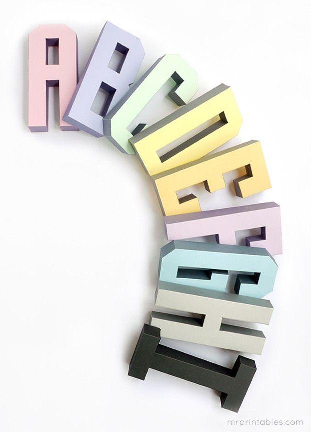 Descarga gratis estas plantillas para hacer palabras 3D de cartón. #letras #mrprintables #descargas #freebies #abecedario #diy #actividades #unamamanovata ❤ www.unamamanovata.com ❤