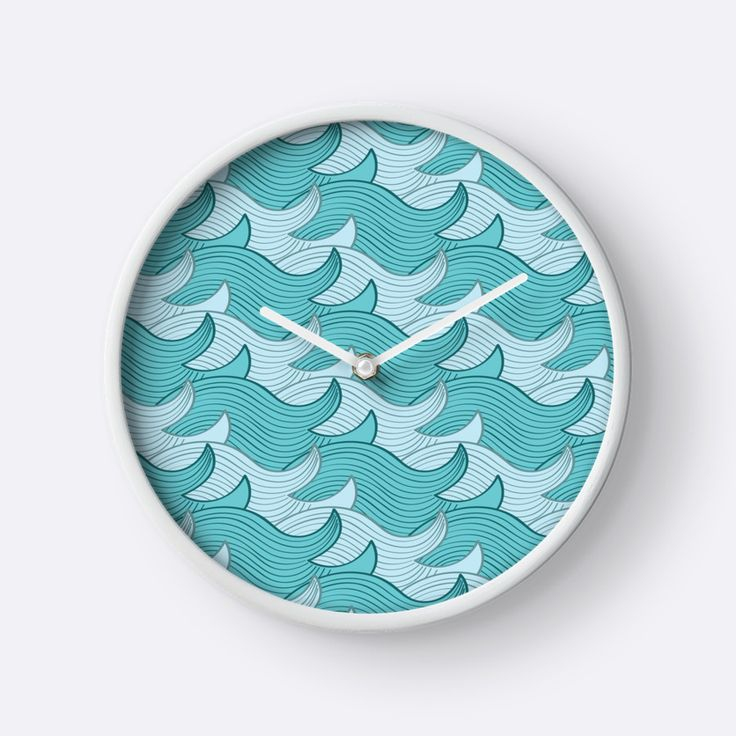 California Surf Wave Pattern Illustration by Gordon White | White California Surf Wall Clock Available in 3 Frame Colors @redbubble --------------------------- #redbubble #stickers #california #losangeles #la #surf #wave #cute #adorable #pattern #coffeemug #mug #homedecor