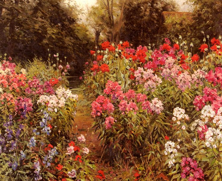 a flower garden louis aston knight oil painting reproduction - Flower Garden Paintings